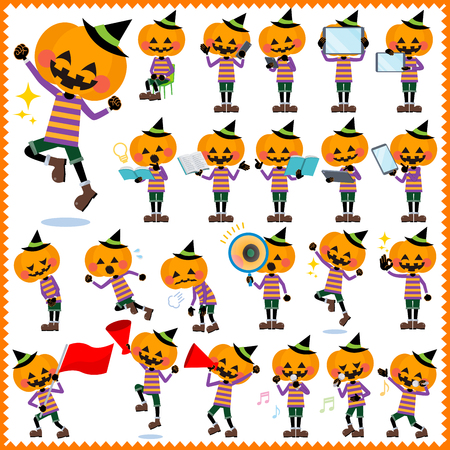 sigh: Set of various poses of jack-o-lantern Illustration