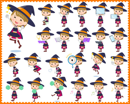 Set of various poses of witch girl Illustration