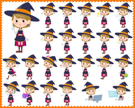 Set of various poses of witch girl