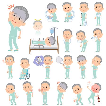 病気について患者の祖父の様々 なポーズの設定します。  イラスト・ベクター素材