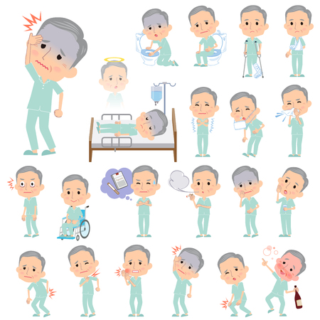 nursing clothes: Set of various poses of patient grandfather About the sickness