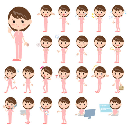 be ill: Set of various poses of patient woman
