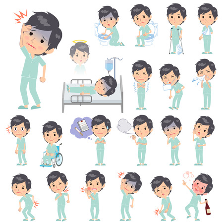 patient: Set of various poses of patient man About the sickness Illustration