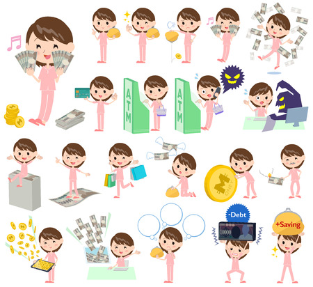 credit card business woman: Set of various poses of patient woman money