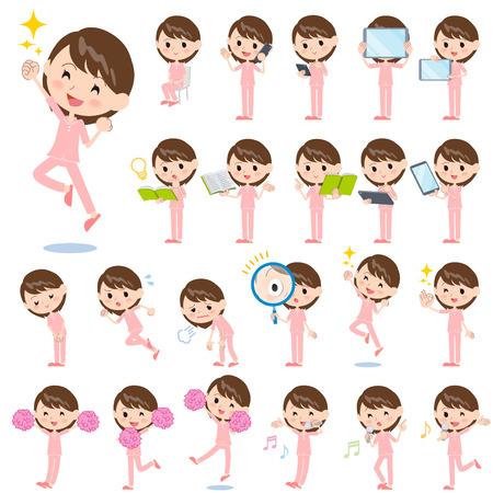 Jeu de différentes poses de femme malade Banque d'images - 63215134