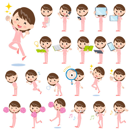 Set of various poses of patient woman