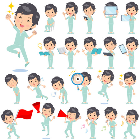 Set of various poses of patient man
