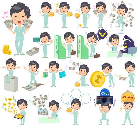 patient: Set of various poses of patient man money