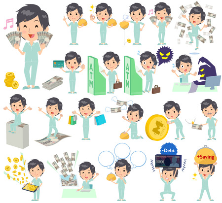 Set of various poses of patient man money