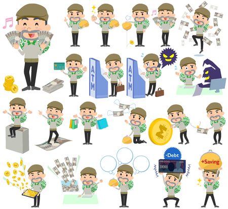criminal: Set of various poses of Burglar man money