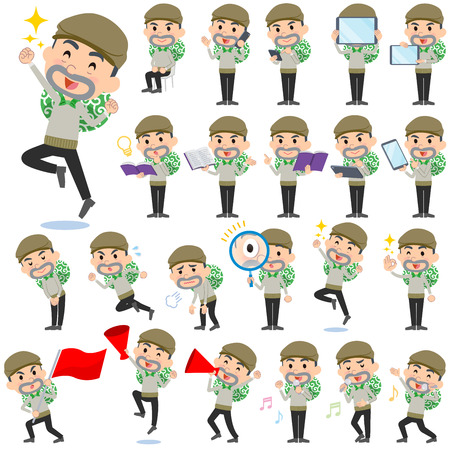 theft prevention: Set of various poses of Burglar man Illustration