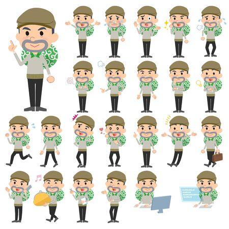 Set van verschillende poses van de Inbreker man Vector Illustratie