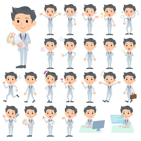 scold: Set of various poses of tuxedo Silver short hair man Illustration