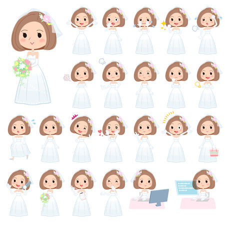 Set of various poses of Bob hair Wedding dress women Ilustração
