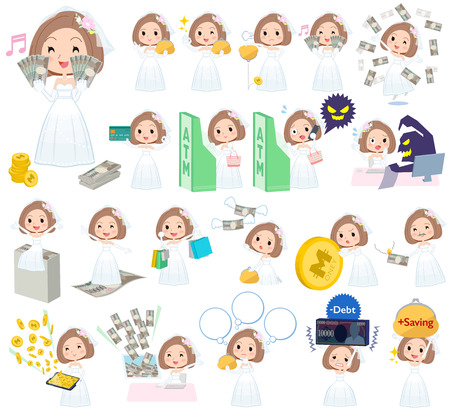 credit card business woman: Set of various poses of Bob hair Wedding dress women money