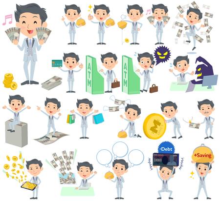 Set of various poses of tuxedo Silver short hair man money Illustration