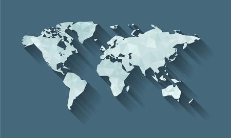 世界地図影のキュービズムの形