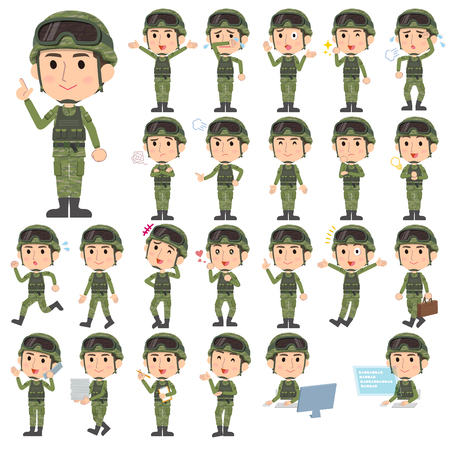 Set of various poses of military wear man