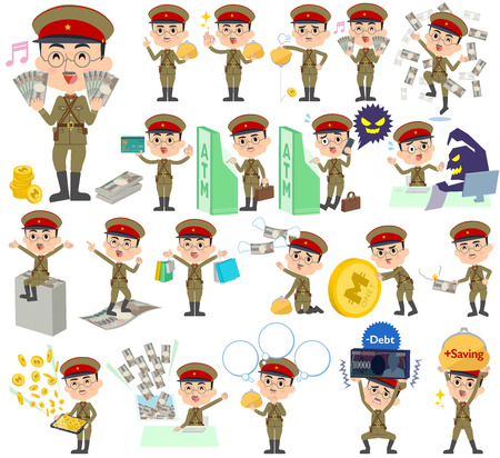 satire: Set of various poses of military wear japan style man money