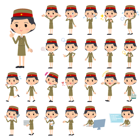Set of various poses of military wear japan style woman