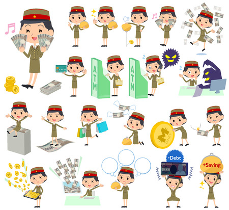 satire: Set of various poses of military wear japan style woman money