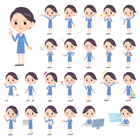 Set of various poses of Cabin attendant blue woman