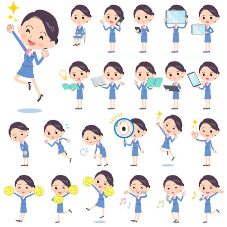 sigh: Set of various poses of Cabin attendant blue woman 2 Illustration