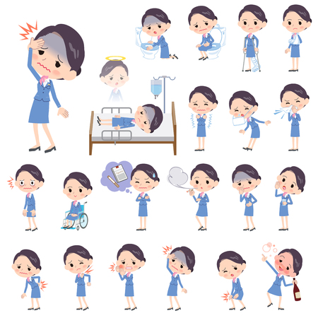 Set of various poses of Cabin attendant blue woman sickness