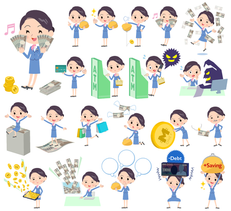 Set of various poses of Cabin attendant blue woman money Illustration