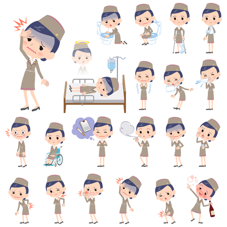 Set of various poses of Cabin attendant beige woman sickness