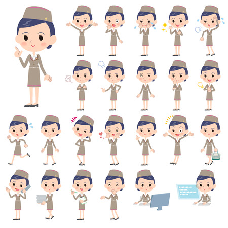 Set of various poses of Cabin attendant beige woman