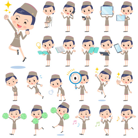 cabin attendant: Set of various poses of Cabin attendant beige woman 2 Illustration