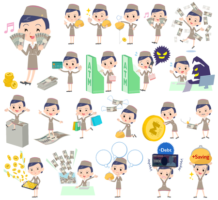 caching: Set of various poses of Cabin attendant blue woman money Illustration
