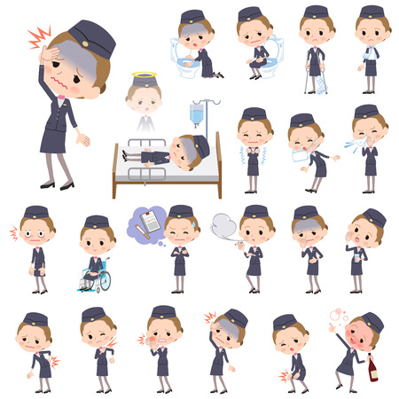 cabin attendant: Set of various poses of Cabin attendant black woman sickness