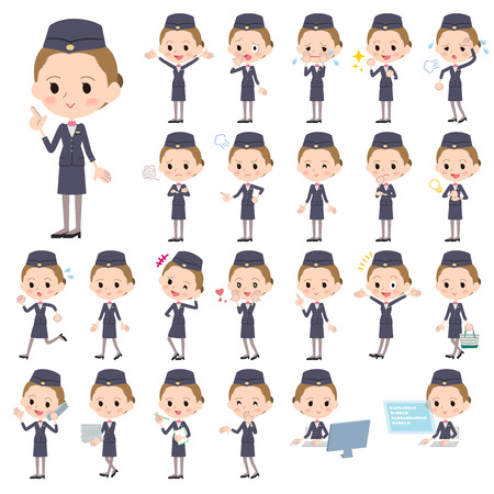 Set of various poses of Cabin attendant black woman