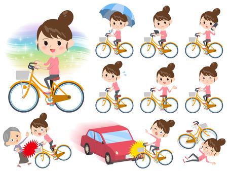 Insieme di varie pose di Bun giro capelli mamma pantaloni stile in bicicletta città
