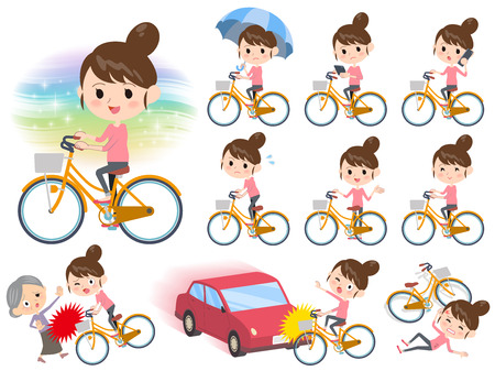 old man standing: Set of various poses of Bun hair mom Pants style ride on city bicycle