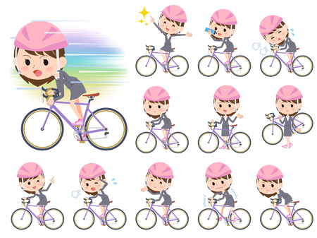 Set of various poses of Gray suit business woman ride on rode bicycle