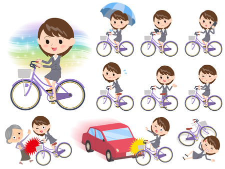going out: Set of various poses of Gray suit business woman ride on city bicycle