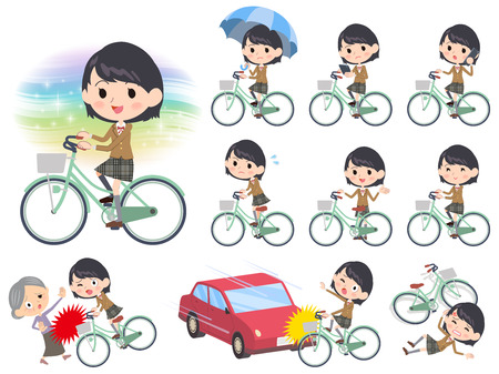 old man standing: Set of various poses of school girl Brown Blazer ride on city bicycle Illustration