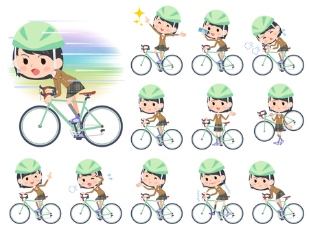 novice: Set of various poses of school girl Brown Blazer ride on rode bicycle