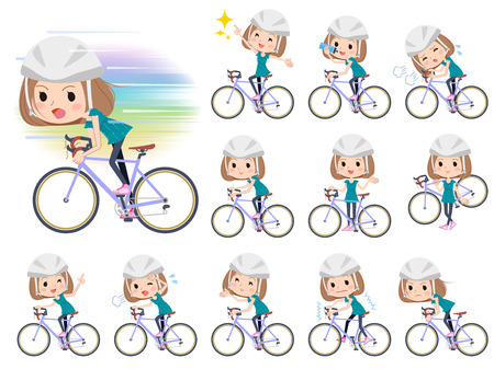 Set of various poses of Bob hair green wear women ride on rode bicycle