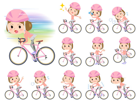 moral: Set of various poses of Straight bangs hair pink wear women ride on rode bicycle