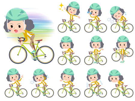 going out: Set of various poses of Yellow jacket Middle woman ride on rode bicycle
