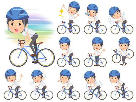 Set of various poses of White short sleeved shirt business men on rode bicycle
