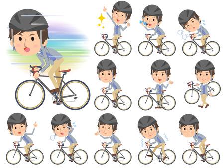 commute: Set of various poses of Jacket blue vest men on rode bicycle Illustration