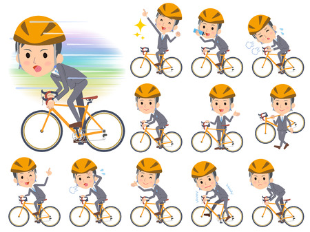 Set of various poses of Gray Suit Businessman on rode bicycle  イラスト・ベクター素材