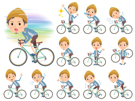 Set of various poses of Jacket Short pants knit hat man on rode bicycle Vectores