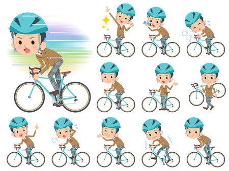 blazer: Set of various poses of school boy Brown Blazer on rode bicycle