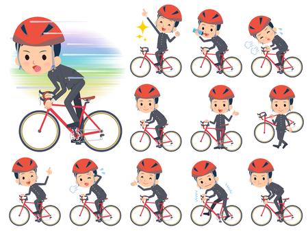 Set of various poses of school boy gakuran on rode bicycle  イラスト・ベクター素材